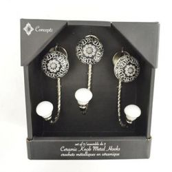 Concepts of Time - J Hooks with Decorative Knobs - Box Set of 3 - Black and White