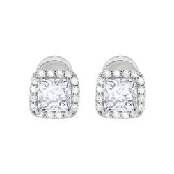 ZAXIE by Stefanie Taylor - Princess- Cut 1 Carat CZ Stud Earrings