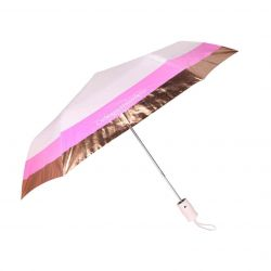 Catherine Malandrino Pink Rose Gold Foil Auto Open Umbrella