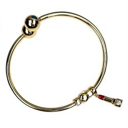 DBW Jewelry - Polished Bangle Bracelet with Lipstick Charm