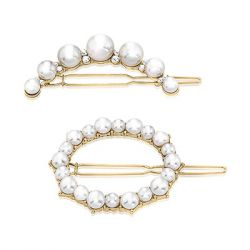 ZAXIE by Stefanie Taylor - All Dolled Up Pearl Barrette Set - Gold