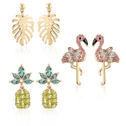 ZAXIE by Stefanie Taylor - Tropical Earrings-Pack Of Three  - Gold