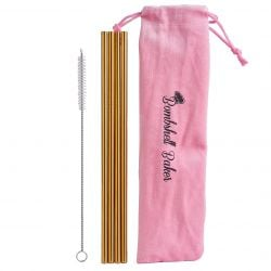 Bombshell Baker - Glitzy Gold Stainless Steel Straw Set