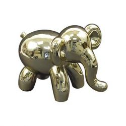 "Concepts in Time - Gold Balloon Elephant Ceramic Tabletop Decor - 8"" x 6"""