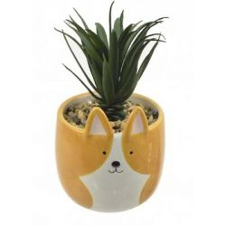 "Concepts in Time - Fox Ceramic Pot Faux Succulent - 3""x 3"""