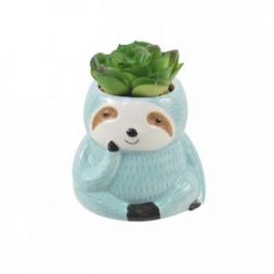"Concepts in Time - Sloth Ceramic Head Faux Succulent Pot Planter - 4""x 3"""