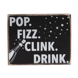 Concepts in Time - 4x5 'Pop Fizz' Print Wood Block - Black/White