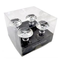 Concepts in Time - Metal Small Diamond Glass Furniture Knobs - Box Set of 4  - Silver
