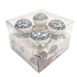 Concepts in Time - Ball Ceramic Knob Drawer Pulls - Set of 4 - moroccan print