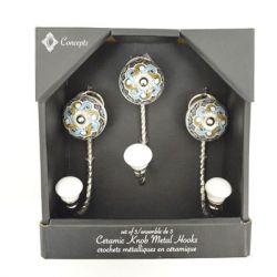 Concepts in Time - J Hooks with Decorative Knobs - Box Set of 3