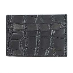 Lulla's Boutique - Mock Croc Leather Card Holder - Black