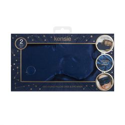 Kensie Beauty - Satin Pillow Case and Eye Mask Set - Navy