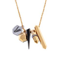 Via Saviene - Colette Charm Necklace - 14K Gold Hematite And Rhodium Plated Brass