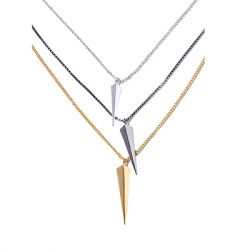 Via Saviene - Vide Three Layered Necklace - 14K Gold Hematite And Rhodium Plated Brass