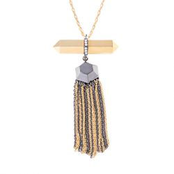 Via Saviene - Colette Fringe Pendant - 14K Gold And Hematite Plating