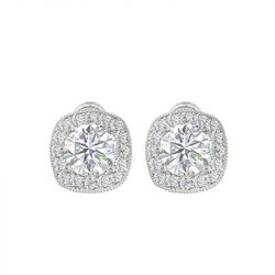 ZAXIE by Stefanie Taylor - Cushion Cut CZ Halo Stud Earrings