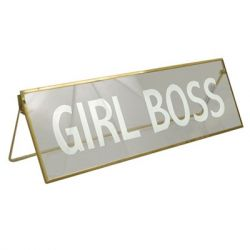 Concepts of Time - 11x3.5 'Girl Boss' Print Metal Framed Glass Plaque Kick Stand